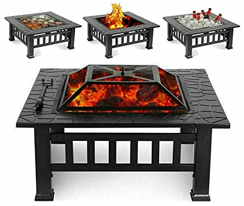 Square Fire Pit BBQ Grill Outdoor Garden Square Table Stove Patio Heater 81 x 81 x 34.5CM/ 15KG