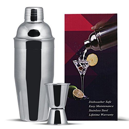 GWHOLE Coctelera Acero Inoxidable 750 ML Cocktail Shaker Set Bar Accesorios con Cóctel Recetas eBook, Vaso medidor(15/30 ml)