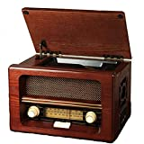 Reproductor de grabaciones, Reproductor de grabaciones Bluetooth con Altavoces estéreo, Radio CD FM, Conector de Salida de música de 3.5 mm con codificación USB/SD, Tocadiscos de Madera Natural