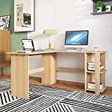 sogesfurniture Eckschreibtisch großer Computertisch in L-Form, 136 x 130 cm PC-Tisch Winkelkombination Bürotisch Arbeitstisch mit 2 Ablage, Weiß Ahorn BHEU-XTD-SC01-MO