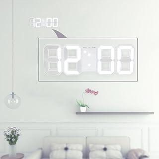 Decdeal - Multifuncional LED Reloj de Pared Digital 12H/24H con Alarma y Snooze, Luminancia Ajustable