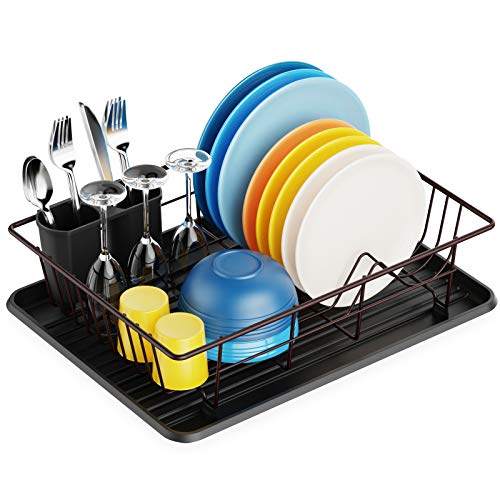 Dish Drying Rack, Packism Dish Rack with Drain Board, Utensil Holder, Anti Rust Dish Drainer for Kitchen Counter Top Dish Rack Wire Holder, Bronze, 16.5 x 12.4 x 4.3 inch
