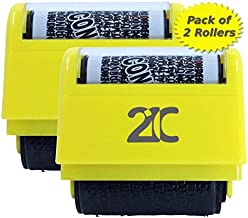 21C Identity Theft Protection Roller Stamp (2 Pack) ID Security Stamp 1.5 Inch Wide Yellow