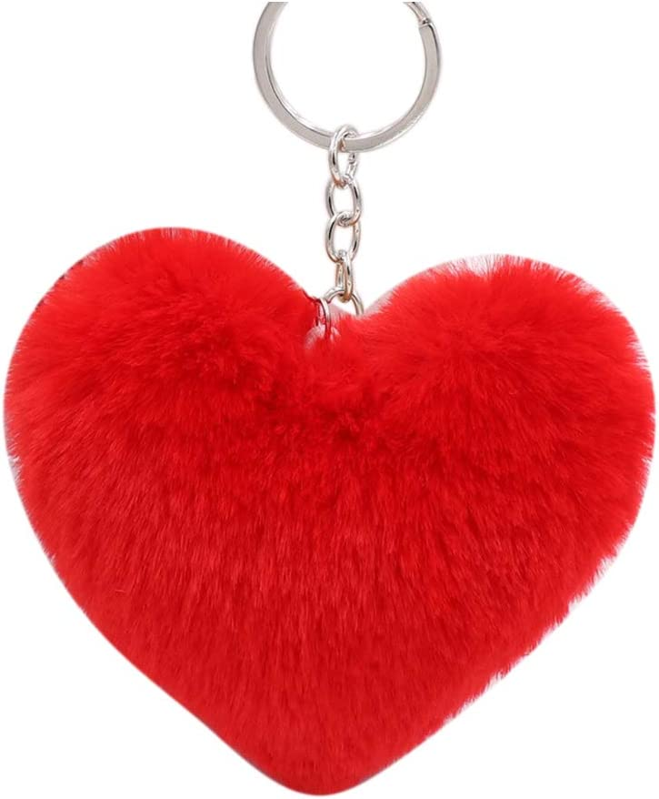 PandaLily Key Purchase Chain Fluffy Love Max 78% OFF Keychain Pendant Heart Ring