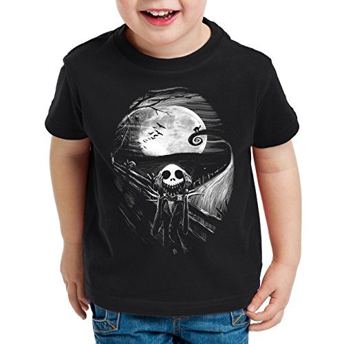 style3 Munch Nightmare T-Shirt für Kinder Jack Skellington schrei Christmas Before Weihnachten Edward, Größe:164