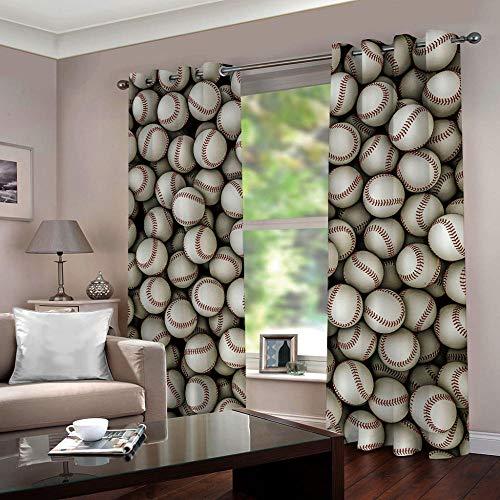 Gordijnen ondoorzichtig baseball-verduisteringsgordijn met ogen, polyester, ondoorzichtig, koude-en warmte-isolatie, isolatie, slaapkamer, set van 2 280cm Width x 180cm Drop