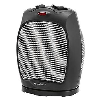 Amazon Basics 1500W Oscillating Ceramic Heater with Adjustable Thermostat Black