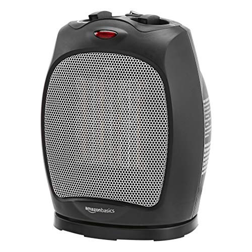 Amazon Basics 1500W Oscillating Ceramic Heater with Adjustable Thermostat, Black