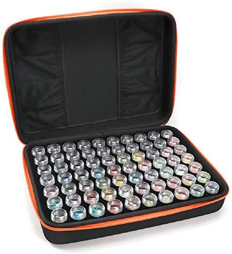 Unique WElinks Boîte de 70 emplacements à Broder Diamant 5D pour Accessoires de Peinture Diamant - pour Loisirs créatifs, Bijoux, Perles, Couture, pilules, Support en Plastique Transparent (Orange)