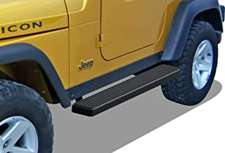 APS iBoard Running Boards 6 inches Matte Black Custom Fit 1987-2006 Jeep Wrangler Sport Utility 2-Door (Nerf Bars Side Steps Side Bars)