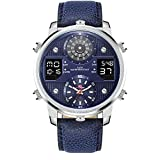 KAT-WACH Casual Watches for Men, Big Face Watch for Men 50mm, Three Time Watch, Blue Case, 5ATM Waterproof Watch, Analog Display, Digital Display,Unique Display, Multi-Function Watch KT720N