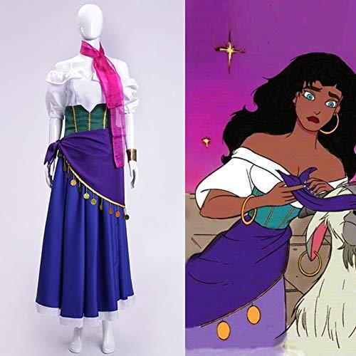 LJYNB Halloween El jorobado de Notre DameDisfraz demujer gitanaEsmeralda Juego de rol de ópera Vestido de Notre-Dame de Paris Esmeralda L Esmeralda