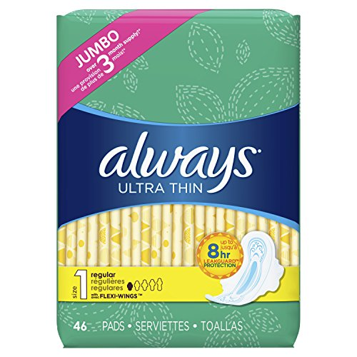 ALWAYS Ultra Thin Size 1 Regular Pads With Wings Unscented, 46 Count (Pack of 1)
