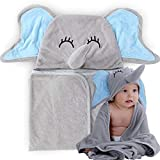InnoBeta Organic Bamboo Baby Hooded Towel | Ultra Soft and Super Absorbent Toddler Hooded Bath Towel with Cute Elephant Face Design | Great Infant Newborn Shower Present for Boy or Girl