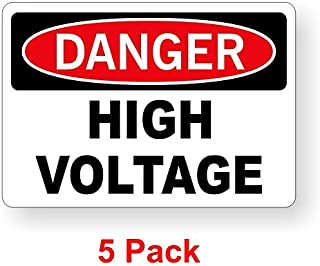 5-Pack Danger - High Voltage 2x3 Decals | Electrical Panel Stickers | Vinyl Labels Volts Meter Warning