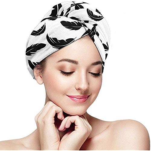 Veer Seamless patroon On White Background microvezel, Fast Drying Hair Towel met Button Wrap Turban