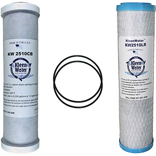 KleenWater Carbon Block Alternative Compatible Drinking Water Filter Multi-Pack Set for GE GXSV10C and FXSVC with (2) Replacement O Rings