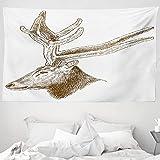 ABAKUHAUS Wild jagen Wandteppich & Tagesdecke, Wild Animal Engraving, aus Weiches Mikrofaser Stoff Wand Dekoration Für Schlafzimmer, 230 x 140 cm, Fawn Sepia & Weiß