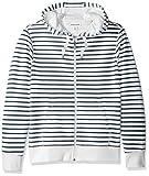 Amazon Essentials Men's Patterned Full-Zip Hooded Fleece Sweatshirt, White Stripe, Medium