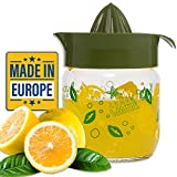 Crystalia Manuel Citrus Juicer with Glass Storage Jar, All Fruit Squeezer for Lemon Orange Lime Grapefruit Juice, Handheld Juice Press Extractor with Handle, Pour Spout and Glass Storage (Green)