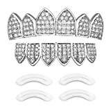 24K Plated Joker Gold Grillz for Mouth Top Bottom Hip Hop Teeth Grills for Teeth Mouth + 2 Extra Molding Bars, Storage Case + Microfiber Cloth (Micropave)