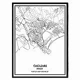 Cagliari Italien Karte Wandkunst Leinwand drucken Poster