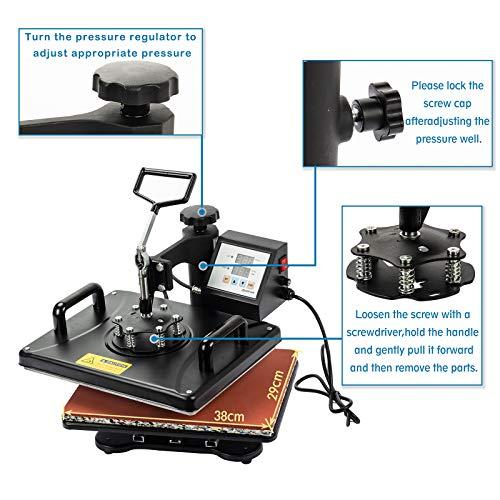 Display4top 5 IN 1 Transferpresse Tassenpresse Textilpresse,29 x 38cm,Hut/Platte/Kappe/T-Shirt Multifunktions DIY Hitzepresse 360-Grad-Drehung - 2