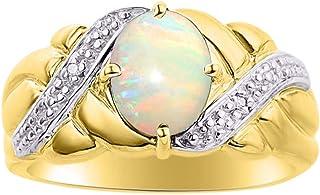 Diamond & Opal Ring Set in 14K Yellow Gold