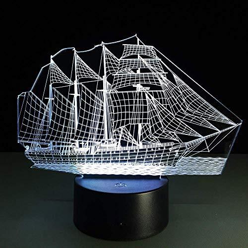 Zeilboot met sleutelhanger acryl vogel 3D nachtlampje baby 7 kleuren Chang USB bureaulamp tafellamp nachtlampje decoratie thuis verlichting