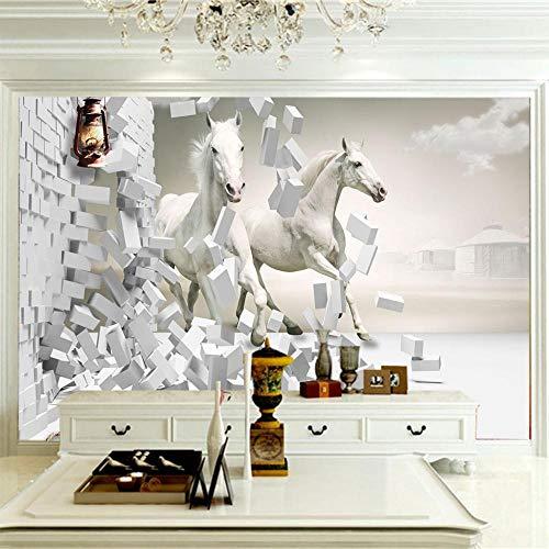 Fotomural Vinilo Pared,Pared De Caballo Blanco,Moderno Fotomurales Salón Dormitorio Despacho Pasillo Decoración Murales Decoración De Paredes 120x100cm
