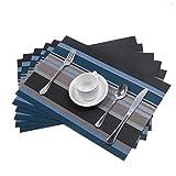 Pauwer Platzsets Set von 6 Gewebt Vinyl Rutschfest Waschbar Platzdeckchen Hitzebeständig Tischsets für Küche Speisetisch (Blau) - 3