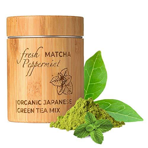 MATCHITA - Te Verde Matcha Menta Organico en Polvo | 100% EU-BIO | Grado Mas Alto | Bebida Japonesa de Grado Ceremonial | Bebidas Frias y Calientes | Contenedor de Bambu | 30g