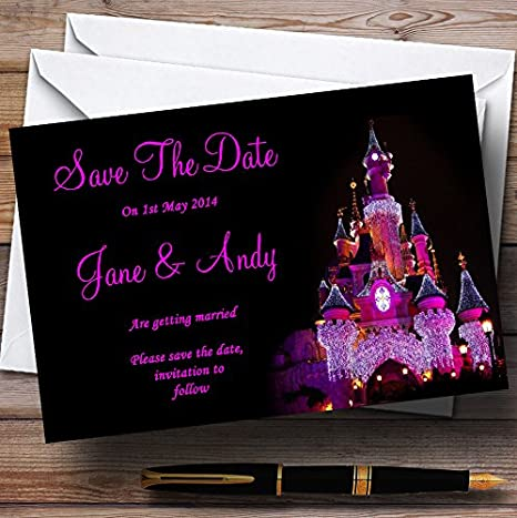 Pink Princess Castle Personalized Wedding Save The Date Cards