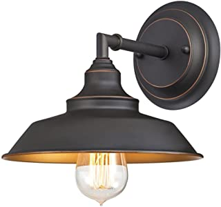 Westinghouse Lighting 6344800 Iron Hill One-Light Indoor Wall Fixture, Oil Rubbed Bronze Finish with Highlights, 1 Sconce