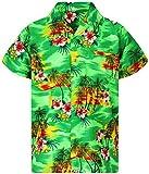 V.H.O. Funky Camicia hawaiana da uomo, a maniche corte, tasca frontale, stampa hawaiana, fiori rosa, per feste verde M