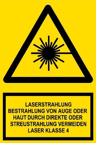 Warnschild - Laserstrahlung Bestrahlung von Auge oder Haut durch direkte oder Streustrahlung vermeiden Laser Klasse 4 - Kunststoff - 20 x 30 cm
