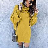 Suéteres for Las Mujeres Informal de Manga Larga de Cuello Alto del Puente de géneros de Punto Jerseys de Gran tamaño Tops (Color : Yellow, tamaño : L)