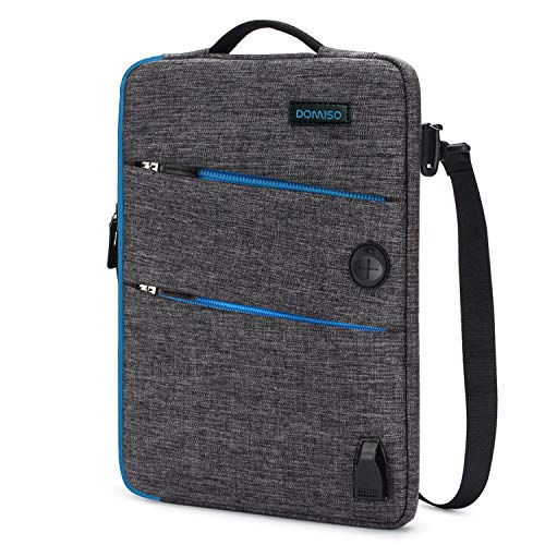 DOMISO 10,1-10,5 Pulgadas Funda Protectora con Puerto de Carga USB 3ways Bolso Bandolera para Ordenador Portátil/Tablet / 9.7' iPad Pro / 10.1' Lenovo Tab 4 Plus/ASUS/Acer/HP, Cremallera Azul