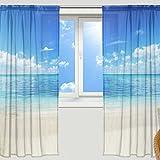 マキク(MAKIKU) ミラーレースカーテン 遮光 断熱 遮熱 レースカーテン 出窓 ドアカーテン おしゃれ ハワイ 北欧 砂浜 海 ブルー シェードカーテン UVカット 薄い 目隠し 幅140cm×丈200cm 2枚組