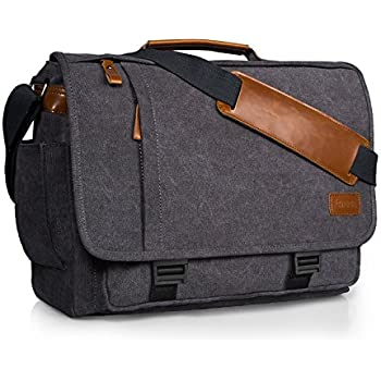 Inspiron 17 Gray Canvas Messenger Bag For Dell Alienware HP 17.3 Laptop