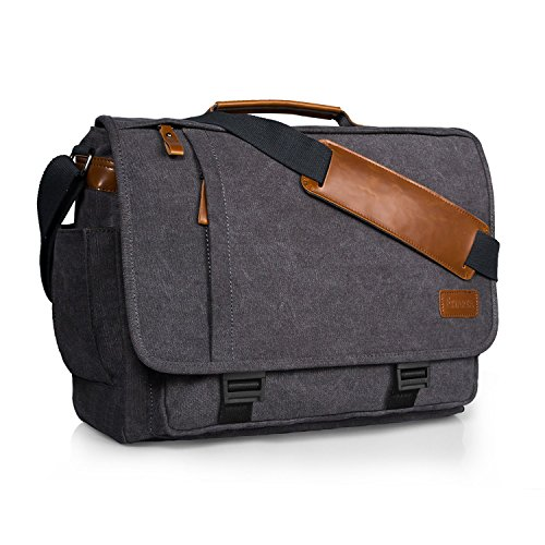 Estarer 17.3 inch Laptop Messenger Bag,Mens Water Resistant Canvas Satchel Briefcase,Padded Computer Shoulder Bag for Work (17.3 Inch with Buckles)