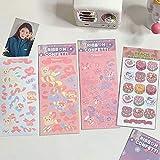 PMSMT 1pc Ins niedlichen Bären rosa Mädchen Kuchenband wasserdicht Ddiy Aufkleber DIY Dekorationswerkzeug Korea Star Chaser Fluoreszierende Requisiten Aufkleber