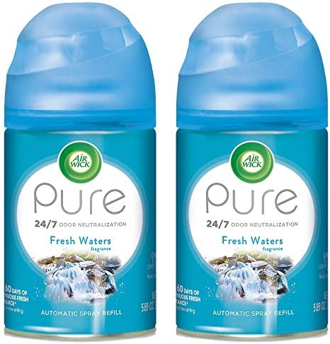Air Wick Pure Freshmatic 2 Refills Automatic Spray, Fresh Waters, 2ct, Air Freshener, Essential Oil, Odor Neutralization, Packaging May Vary