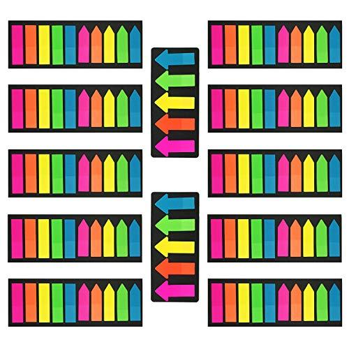 Pietydeko 2200 Stück Haftmarker Plastik Film Haftnotizen Durchsichtig Pfeil Index Flaggen Tabs für Seitenmarkierung