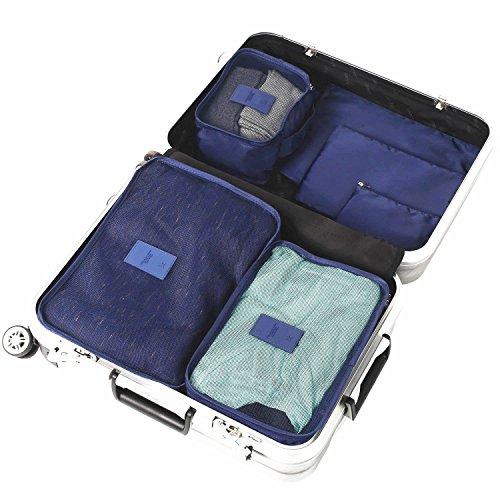 ARKTek® 6 set di valigie Organizzatori imballaggio cubi di viaggio Organizzatori di compressione Sacchetti (Navy Blue)