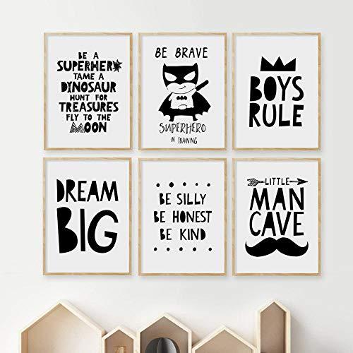 FA LEMON Crown Big Dream Zitat Wandkunst Leinwand Malerei Poster und Drucke Bilder Junge Kinderzimmer Dekor-21x30cmx6 Stück kein Rahmen