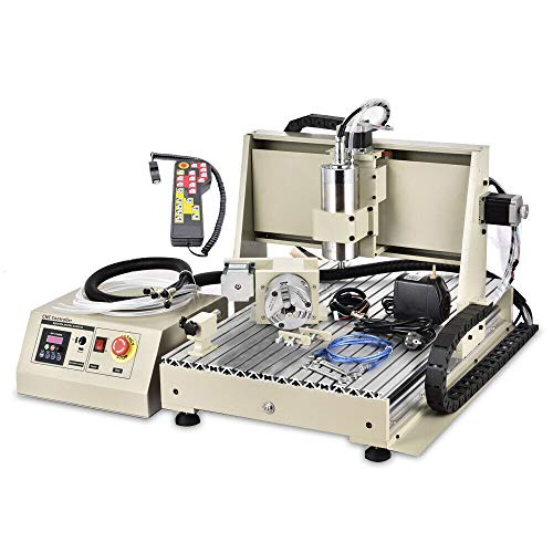 CNC Router Engraver 4 Axis USB 1.5KW VFD 6040 CNC Engraving Drilling Milling Carving Machine 3D Cutter Desktop DIY Artwork Woodworking (With Remote Controller)