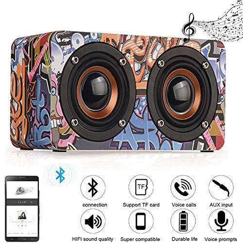 Kabelloser Outdoor Lautsprecher,Yimiky Wooden Hip Hop Bluetooth 4.0 Lautsprecher Tragbare Unterstützung TF AUX FM Freisprecheinrichtung HiFi Subwoofer Bass für iPhone, Samsung (Graffiti)