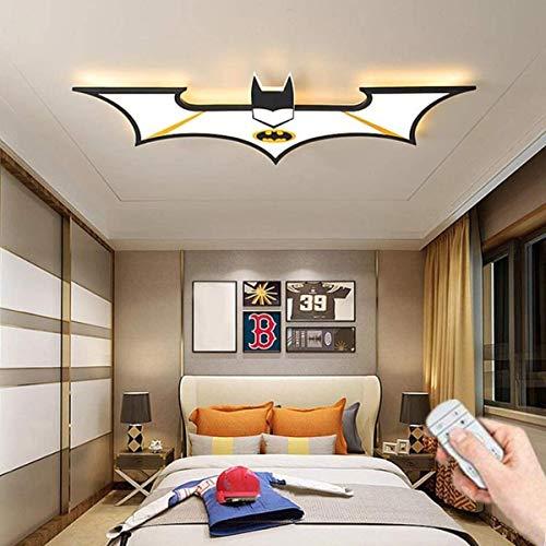 Luz de techo LED Batman Dibujos animados Nursery Lámpara de techo Negro Acrílico Lámpara con control remoto Dormitorio Dimmable Sala de estar Iluminación interior 92cm (34W)
