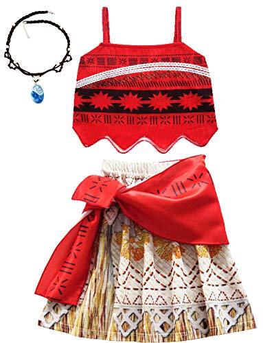 O.AMBW Disfraz de Moana roja Cosplay Princesa Vaiana Vestido Hawaiano Conjunto de 3 Piezas Top + Falda + Faja Disfraz con Collar de Accesorios Moana Carnaval nias Fans